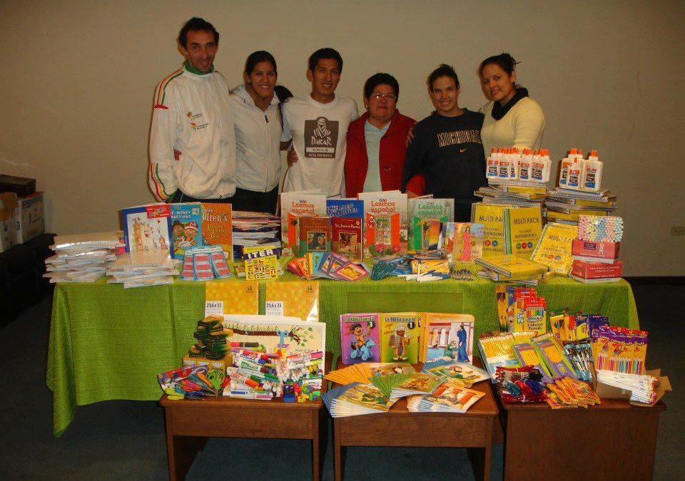Donating School Supplies in San Lorenzo, Bolivia